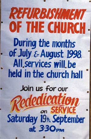 Church refurbishment notice