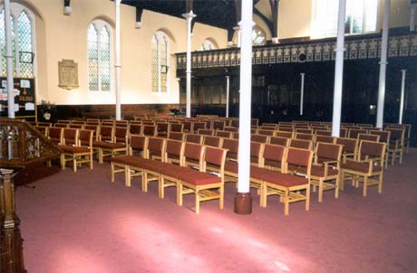 Church refurbishment chairs installed